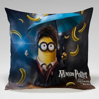 minions potter and the chamber of banana Square Pillow Case Custom Zippered Pillow Case one side and two side