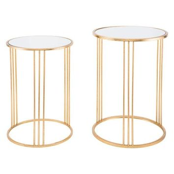 Zuo Magri Set Of 2 Nesting Round Tables Gld
