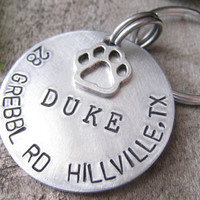 DUKE - Hand Stamped Pet ID Tag - Personalized Pet/Dog Tag - Dog Collar Tag - Engraved Dog Tag - Handsatmped Pet Tag - Aluminum Dog Tag