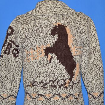60s Horse Cowichan Shawl Collar Sweater Small