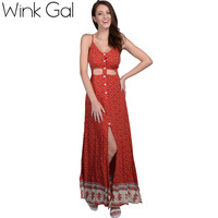 Wink Gal New Dress 2016 House Dress Bohemian Boho Sleeveless Summer Dress Cotton Floral Maxi Dresses 3027