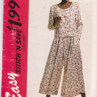 Sewing pattern for long sleeved, button front top and loose fitting split skirt misses size 12 14 16 18 McCall's Stitch n Save 6911 UNCUT