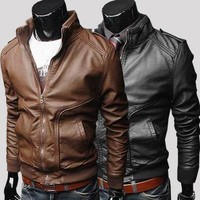 Fall New Style Slim Fit Leather Jacket