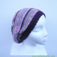 Slouch Hat in lavender, purple, pink and sage stripes, crochet slouchy, ready to ship.