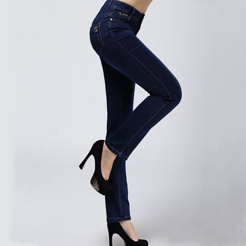 Women Jeans Large Size High Waist Autumn 2016 Blue Elastic Long Skinny Slim Jeans Trousers For Women 27-38 Size Y323