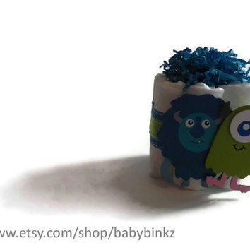 Cute Monster Mini Diaper Cake  Unique Baby Shower by BabyBinkz
