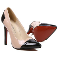 Black High Heel Point Toe PU Pumps -SheIn(Sheinside)