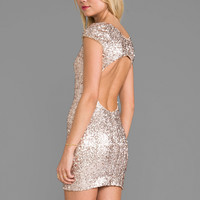 DRESS THE POPULATION Gabriella Dress in Metallic Silver