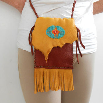 Handmade Crossbody Bag, Hand Beaded Sun Symbol, Handsewn, Hippie, Boho, Rustic, Mountain Man, Rendezvous, Gift For Her, Native American