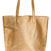 BAGGU Basic Leather Tote in Gold