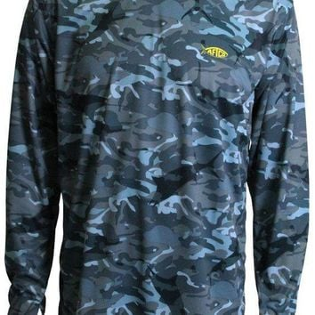 Caster Long Sleeve Sun Shirt in Blue Camo by AFTCO