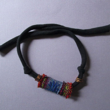 Boho Necklace fiber art choker large focal fabric bead black cord tie blue daisy flower red silk cotton copper tube beads textile jewelry