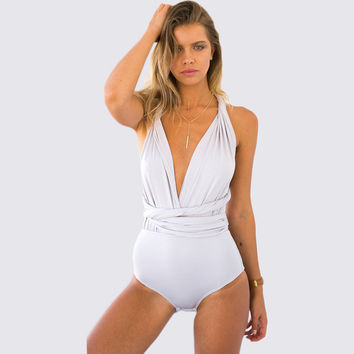 White Sleeveless Knitted Bodysuit
