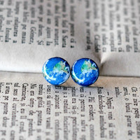 Earth Earrings, Planet Post Earrings, Earth Stud Earrings, Polymer Clay Earrings, Resin Jewelry