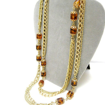Sarah Coventry Necklace  Long Goldtone Chain Root Beer Beads Vintage 1960s 1970s