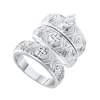 10kt White Gold His & Hers Marquise Diamond Crosses Matching Bridal Wedding Ring Band Set 1/8 Cttw