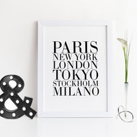 POSTER OF Cities,Paris,New York,London,Tokyo,Stockholm,Milano,Fashion Art Print,Printable Wall Art,Digital Print,Fashionista,Modern Wall Art