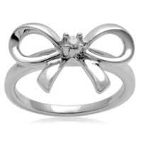 Sterling Silver Diamond Bow Ring (0.03 cttw, I-J Color, I3 Clarity): Jewelry