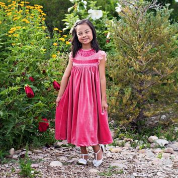 Magnolia Rose Pink Velvet Smock Dress - Toddlers & Girls
