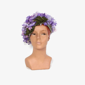 Vintage 60s FLORAL HAT / 1960s Purple Millinery Flower Whimsical Hat