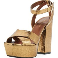 Saint Laurent Farrah Crackled Metallic Leather Platform Sandal, Bronze | Neiman Marcus