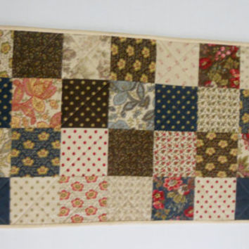 Quilted Table Runner, Table Quilt, Dresser Scarf Runner, Country, Primitive, Quilted Table Topper, Reproduction Fabrics