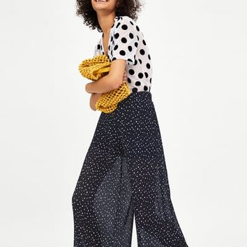 PLEATED POLKA DOT PANTS