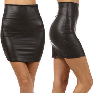 High Waist Black Liquid Mini Skirt Faux Leather Fitted Waisted Wet Look Shiny