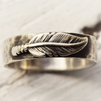 Sterling Silver Feather Ring - Hammered Band - Hand Fabricated Jewelry - Rustic Ring - Feather Jewelry- Wedding Band - Statement Ring