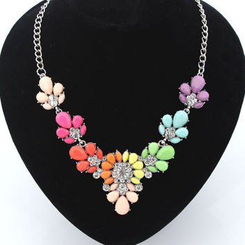 Shiny New Arrival Gift Jewelry Stylish Metal Summer Gemstone Floral Snake Bone Necklace [6586306183]