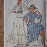 Vintage Sewing Pattern Misses 2 Pc Peasant Dress in 2 Lengths Uncut