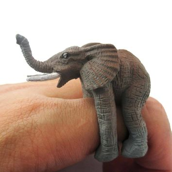 3D Realistic Elephant Figurine Shaped Animal Wrap Ring for Kids | US Size 3 to size 5