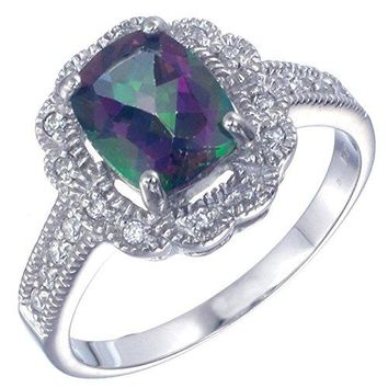 2.20 Carats Sterling Silver Mystic Topaz Ring (2.20 CT)