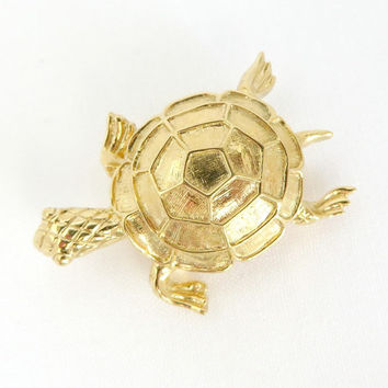 Vintage Napier Turtle Brooch, Gold Tone Tortoise Pin