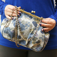 Floral clutch frame purse