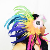 Fur Rainbow feather head piece / burning man/ EDC / Coachella / rave outfit / hair piece / tomorrowworld