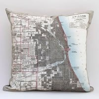 "Supermarket - 15"" x 15"" Vintage CHICAGO Map Pillow Cover from saltlabs"