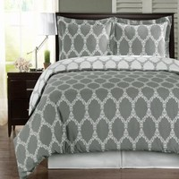 Gray and White Brooksfield 3-piece King / Cal-king Comforter Cover (Duvet-Cover-Set) 100 % Egyptian Cotton 300 TC