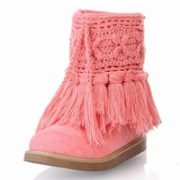 ZLYC Hand Knit Crochet Tassel Flat Ankle Boots for Women