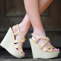 RESTOCK Talk About Tropical Wedges: Tan | Hope's