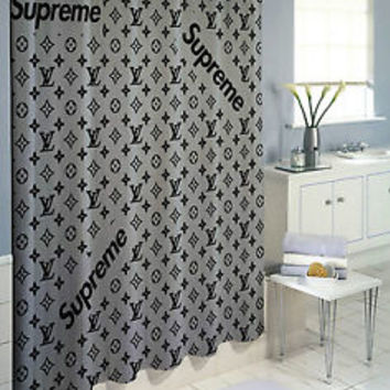 "Best Supreme Silver Logo High Quality Custom Shower Curtain 60""x72"""