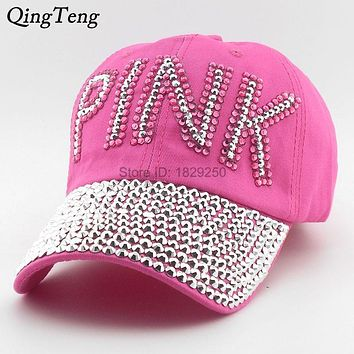 Baseball Cap Women Pink Rhinestone Caps Swag Diamond Point Pink Letters Denim  Casual Snapback Hats Girls Hat Rhinestone Print