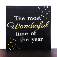 12 inch Wonderful time of the year sign, Christmas sign, Christmas Decor, Holiday Sign