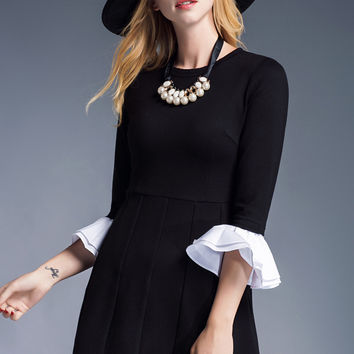 Black Round Neck Flounce Sleeve Empire Pleated Dress