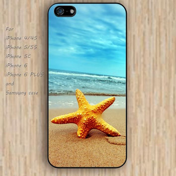 iPhone 6 case Beach sand starfish iphone case,ipod case,samsung galaxy case available plastic rubber case waterproof B218