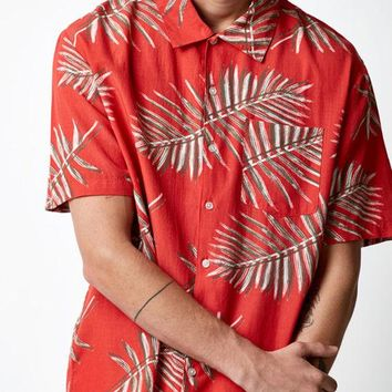 VONE05W Brixton Lovitz Red Short Sleeve Button Up Camp Shirt