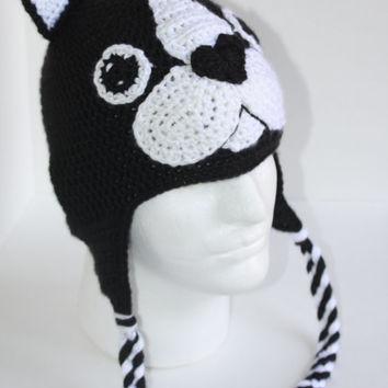 Boston Terrier Crochet Hat / Dog Breed Hat, Puppy hat, Dog hat, Handmade, Beanie, Earflaps (MADE TO ORDER)
