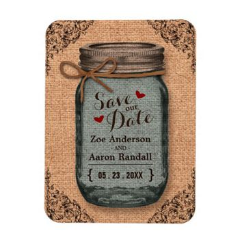 Rustic Country Burlap Jar Vintage Save the Date