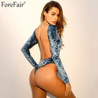 ForeFair Backless Sexy Velvet Bodysuit Top Blue Skinny Club Party Body Top Women Long Sleeve Bottom Button Bodysuits