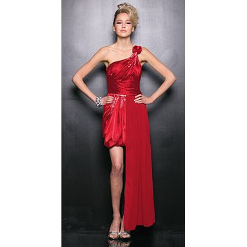 CLEARANCE - One Shoulder Red Cocktail Dress Empire Rhinestone Side Sash (Size 2XL)